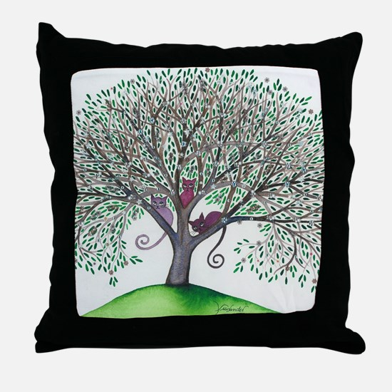Morovis Stray Cats in Tree Throw Pillow