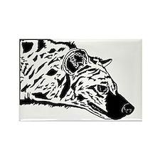 Black and White Hyena Rectangle Magnet