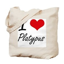 I love Platypus Artistic Design Tote Bag