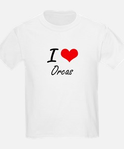 I love Orcas Artistic Design T-Shirt