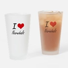 I love Narwhals Artistic Design Drinking Glass