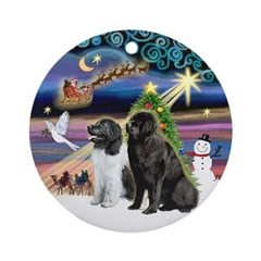 Xmas Magic - 2 Newfies Ornament (Round)
