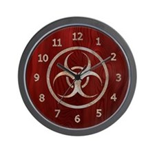 Wood & Metal Biohazard Wall Clock