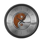 Wood Steel Yin Yang Large Wall Clock