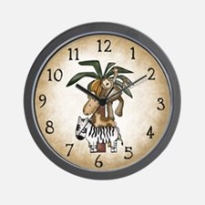 Cute Monkey and palm tree Wall Clock