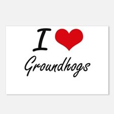 I love Groundhogs Artisti Postcards (Package of 8)