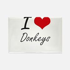 I love Donkeys Artistic Design Magnets