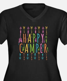Funny Happy camper Women's Plus Size V-Neck Dark T-Shirt