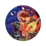 Mandolin Angel and black Lab Ornament (Round)