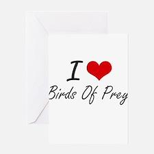 I love Birds Of Prey Artistic Desig Greeting Cards