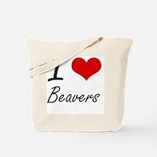 I love Beavers Artistic Design Tote Bag