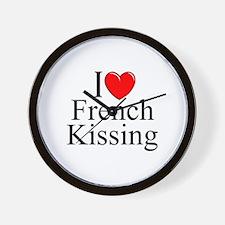 """""""I Love (Heart) French Kissing"""" Wall Clock"""