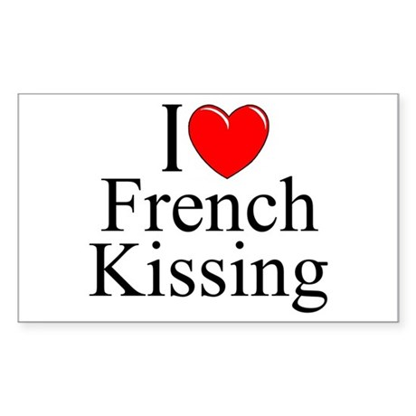 """I Love (Heart) French Kissing"" Sticker (Rectangle"