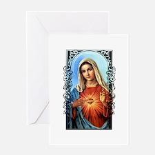 Virgin Mary - Sacred Immaculate Heart Greeting Car