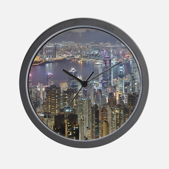 Hong Kong Skyline at night from Victori Wall Clock