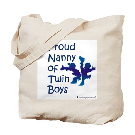 Proud Nanny of Twin Boys Tote Bag