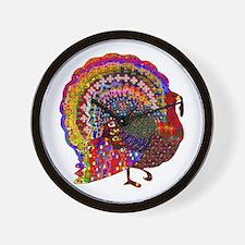 Dazzling Artistic Thanksgiving Turkey Wall Clock
