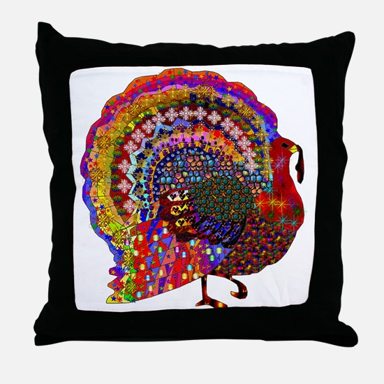 Dazzling Artistic Thanksgiving Turkey Throw Pillow