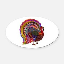Dazzling Artistic Thanksgiving Tur Oval Car Magnet