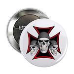 Skulls Iron Cross Button