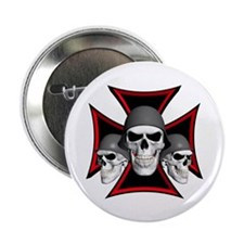 "Skulls Iron Cross 2.25"" Button (10 pack)"
