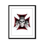 Skulls Iron Cross Framed Panel Print