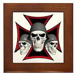 Skulls Iron Cross Framed Tile