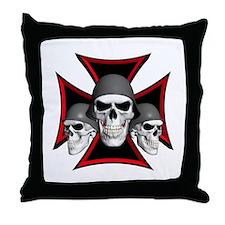 Skulls Iron Cross Throw Pillow