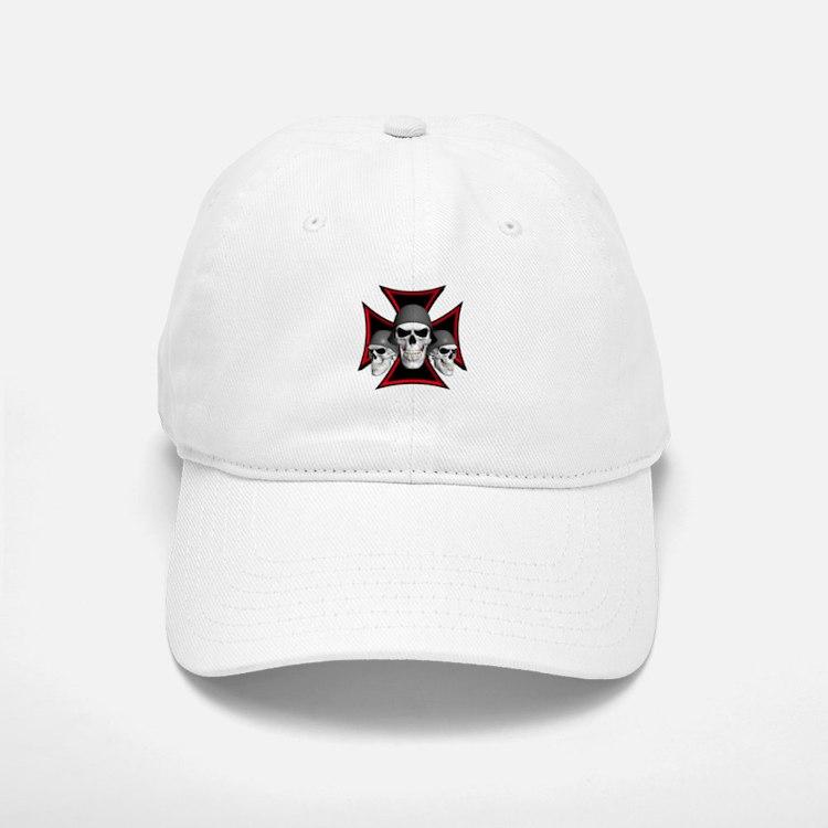 Skulls Iron Cross Baseball Baseball Cap