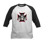 Skulls Iron Cross Kids Baseball Jersey