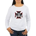 Skulls Iron Cross Women's Long Sleeve T-Shirt