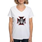 Skulls Iron Cross Women's V-Neck T-Shirt