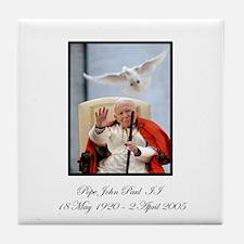 Pope John Paul II with Dove Tile Coaster