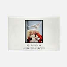 Pope John Paul II with Dove Rectangle Magnet