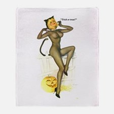 Halloween Vargas Sexy Cat Pin-Up Throw Blanket