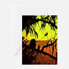 Sunset Kookaburra Silhouette Greeting Cards