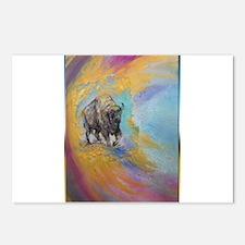 American Buffalo, original art, Postcards (Package