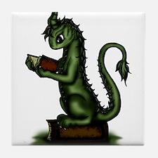 Bookworm Dragon Tile Coaster