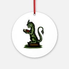 Bookworm Dragon Round Ornament