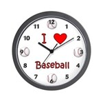 I Love Baseball Wall Clock
