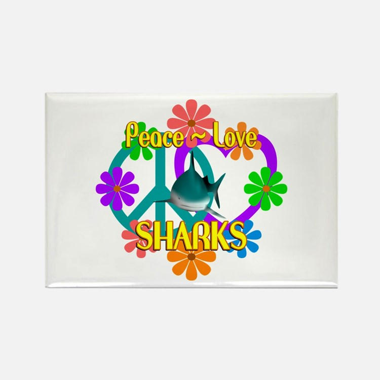 Peace Love Sharks Rectangle Magnet