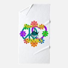 Peace Love Sharks Beach Towel