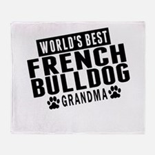 Worlds Best French Bulldog Grandma Throw Blanket