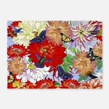 Hummingbirds, Butterflies, Dahlias 5'x7'Area Rug