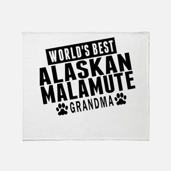 Worlds Best Alaskan Malamute Grandma Throw Blanket