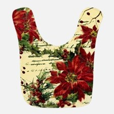 Vintage poinsettia and holly Bib