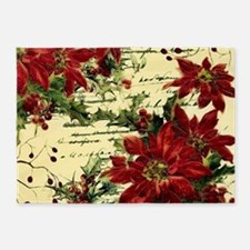 Vintage poinsettia and holly 5'x7'Area Rug