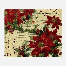 Vintage poinsettia and holly Throw Blanket