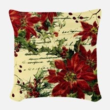 Vintage poinsettia and holly Woven Throw Pillow