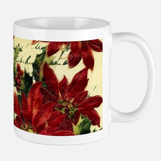 Vintage poinsettia and holly Mugs